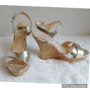 GUESS Gold Metallic Strappy Wedge Sandals 8M